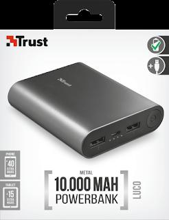 TRUST LUCO POWERBANK IN METALLO 10000MAH 23143