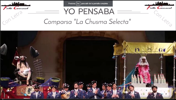 "Pasodoble ""Yo pensaba"". Comparsa ""La Chusma Selecta"" (2020) con Letra"