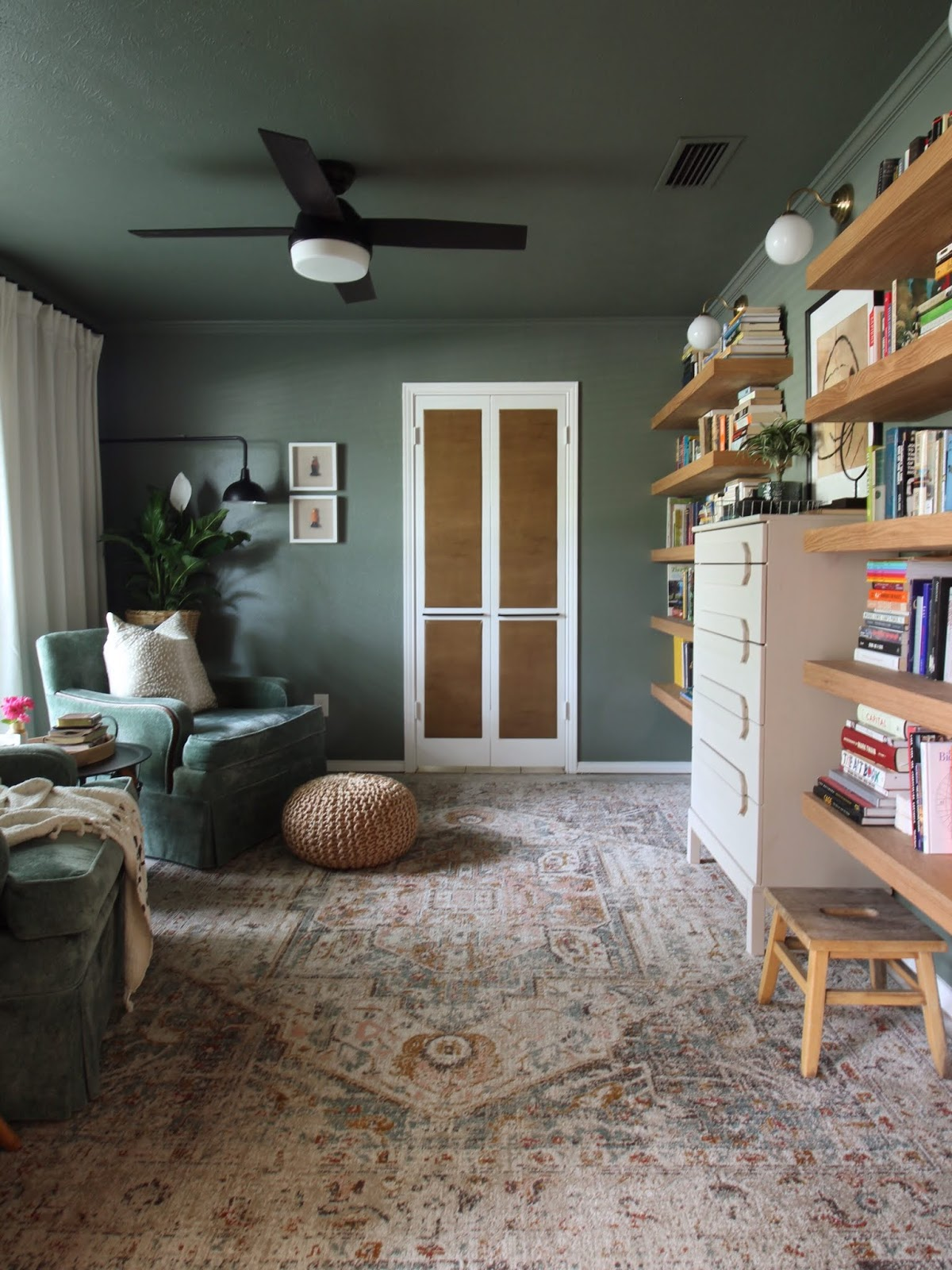 We've lived in our house a whole year!! Check out the tour and a round up of projects I've done. It's been great!   House Homemade Floating Shelves reading room