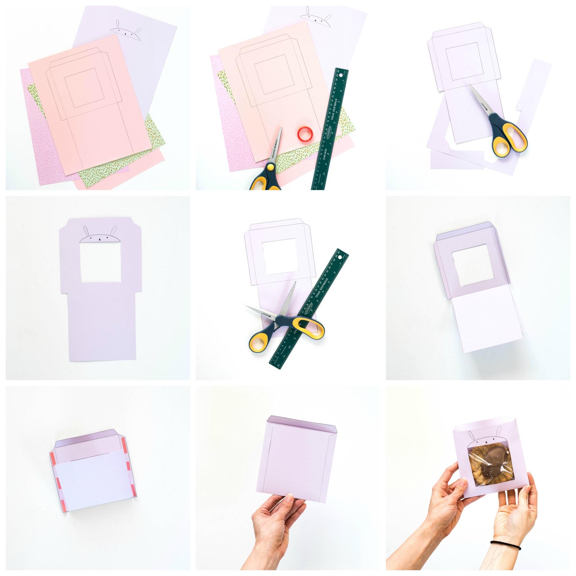 template, diy, craft, bunny, easter, rabbit, kids, ideas, purple, easy, dessert bag, kawaii