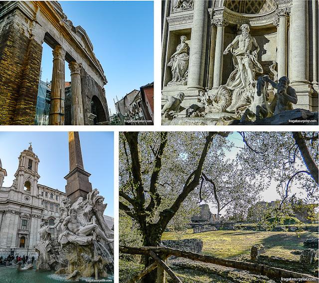 Roma: Pórtico de Otávia, Fontana di Trevi, Piazza Navona e Monte Palatino