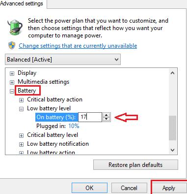 Beginilah Cara Mengatur atau Mengubah Tingkat Pemberitahuan Baterai Rendah di Windows 8, 10 4