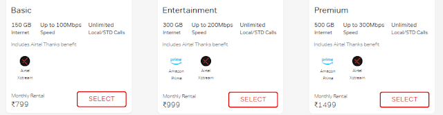 AIRTEL internet Plans