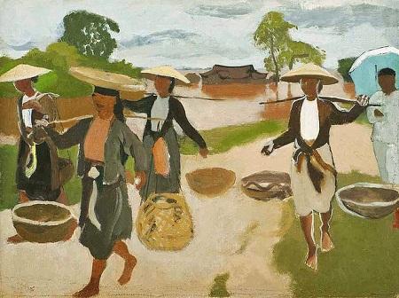 """Bức tranh """"Đi chợ"""" do các họa sỹ Pháp thể hiện"""