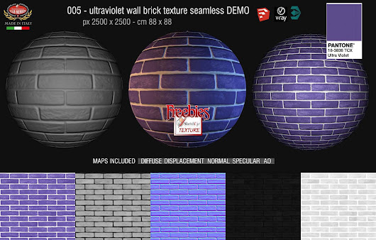 Freebies today: Wall Brick texture seamless Ultra Violet Pantone 18-3838