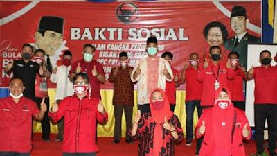 Peringati Bulan Bung Karno,Bupati Hadiri Penyerahan 1000 Paket Sembako Oleh DPC PDIP Mura