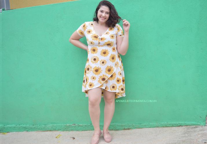 Sunflower Print Mock Button Overlap Dress