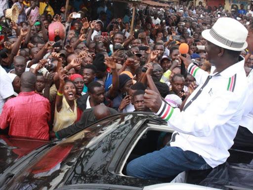 Raila Odinga in a political tour