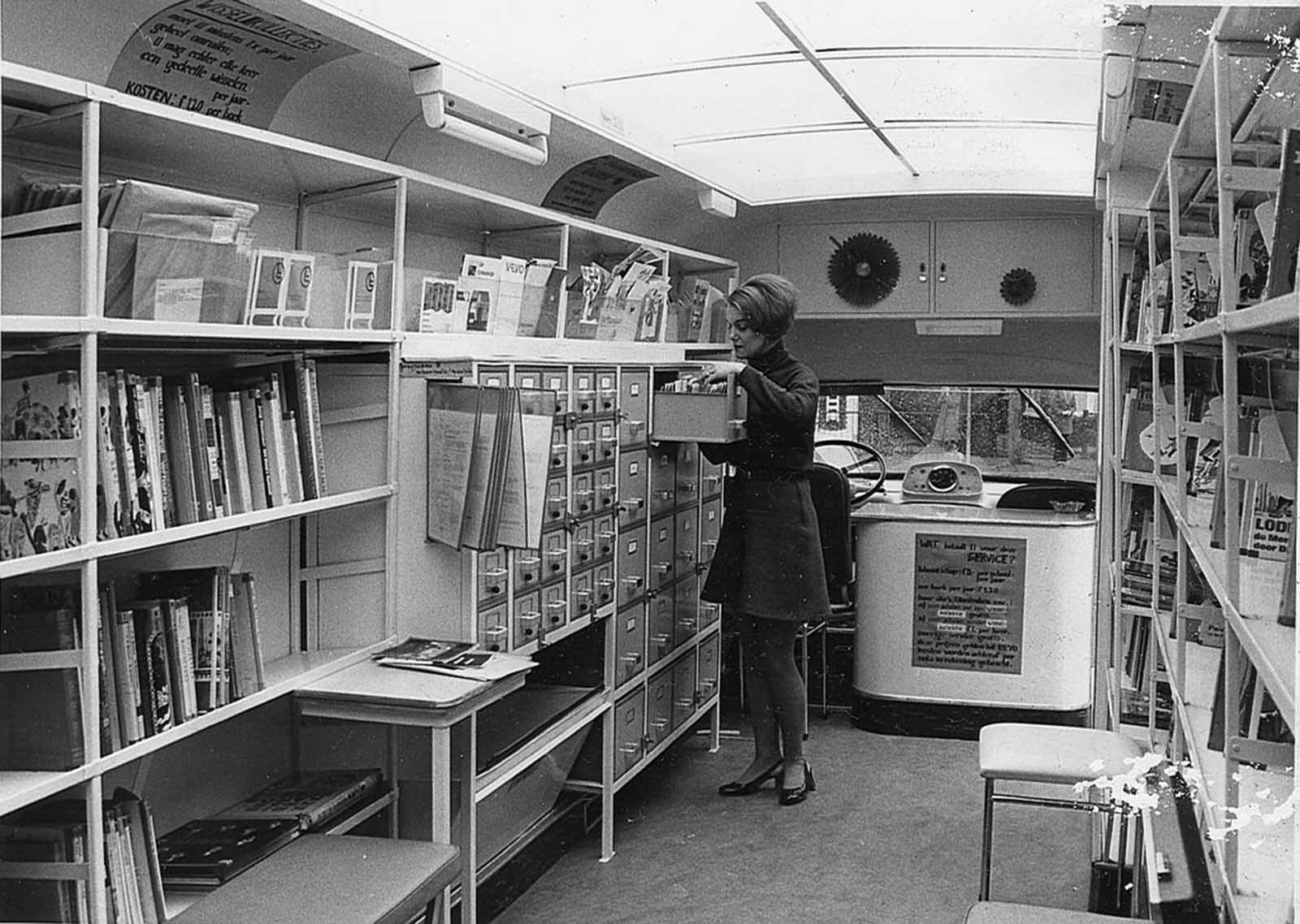 Inside a bookmobile, date unknown.