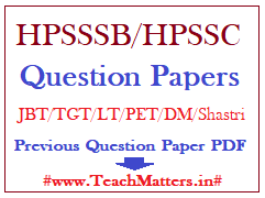 image: HPSSSB Question Papers - HPSSC Previous Papers @ TeachMatters