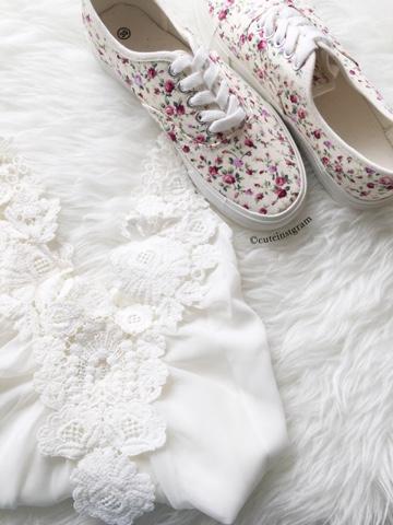 white floral adidas