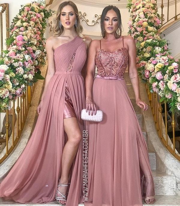 vestido paleta rosa antigo  para madrinha de casamento