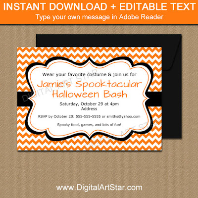 halloween party invitation with orange and white chevron and editable text