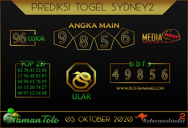 Prediksi Togel SYDNEY 2 TAMAN TOTO 05 OKTOBER 2020
