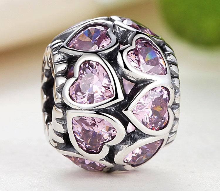 粉愛鋯石 925純銀鍊墜