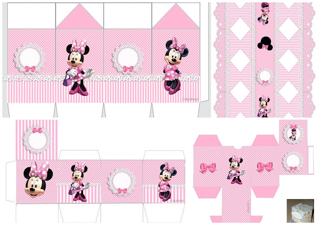 Minnie with Pink Stripes: Free Printable Boxes.