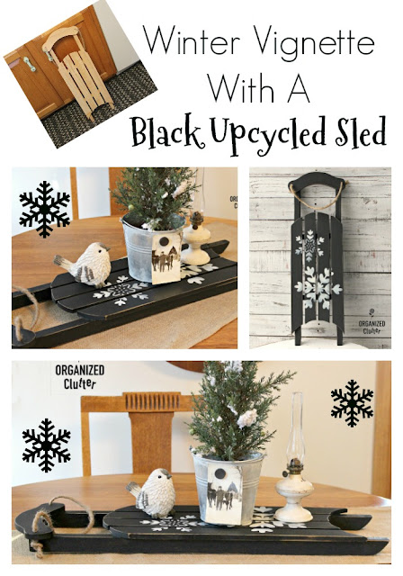 Upcycled Goodwill Sled As Winter Decor #stencil #snowflakes #dixiebellepaint #caviar #thriftshopmakeover #upcycle #wintervignette