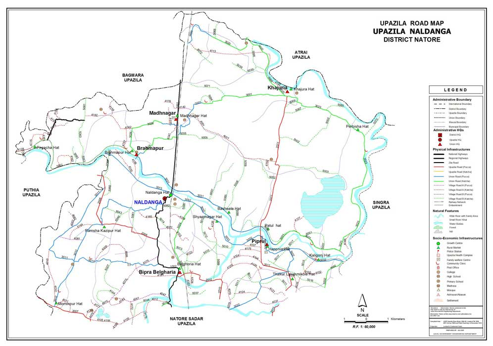Naldanga Upazila Road Map Natore District Bangladesh