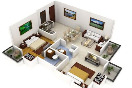 20 Denah Rumah Minimalis 2 Kamar 3D Gaya Modern