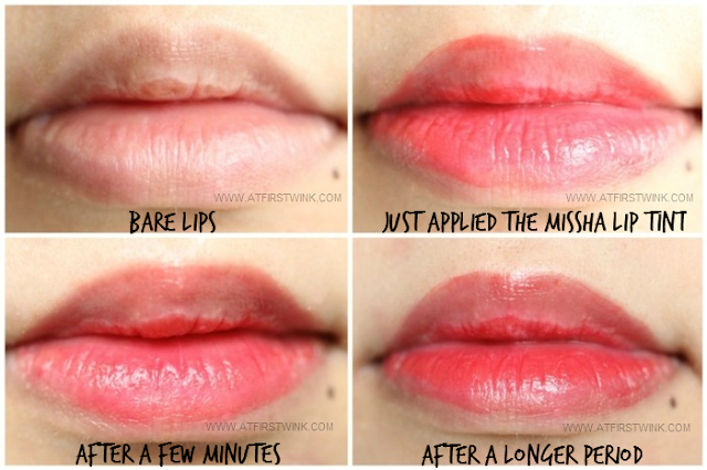 Missha the style beautiful tint no. 04 - Moist Coral, lip swatches