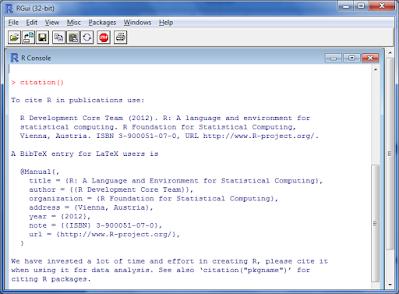 Gambar 1.2. Menuliskan fungsi citation() dan hasil yang diperoleh