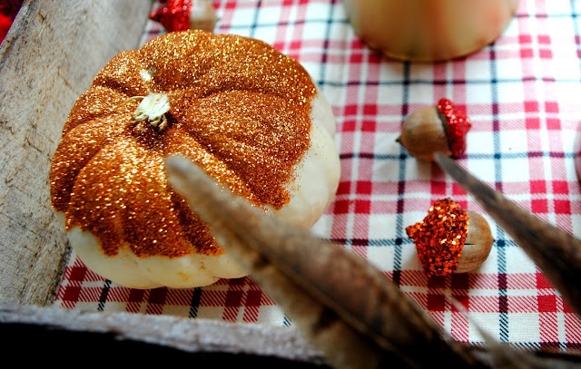 Glitter pumpkins, glitter acorns, fall party by Fizzy Party, plaid trend