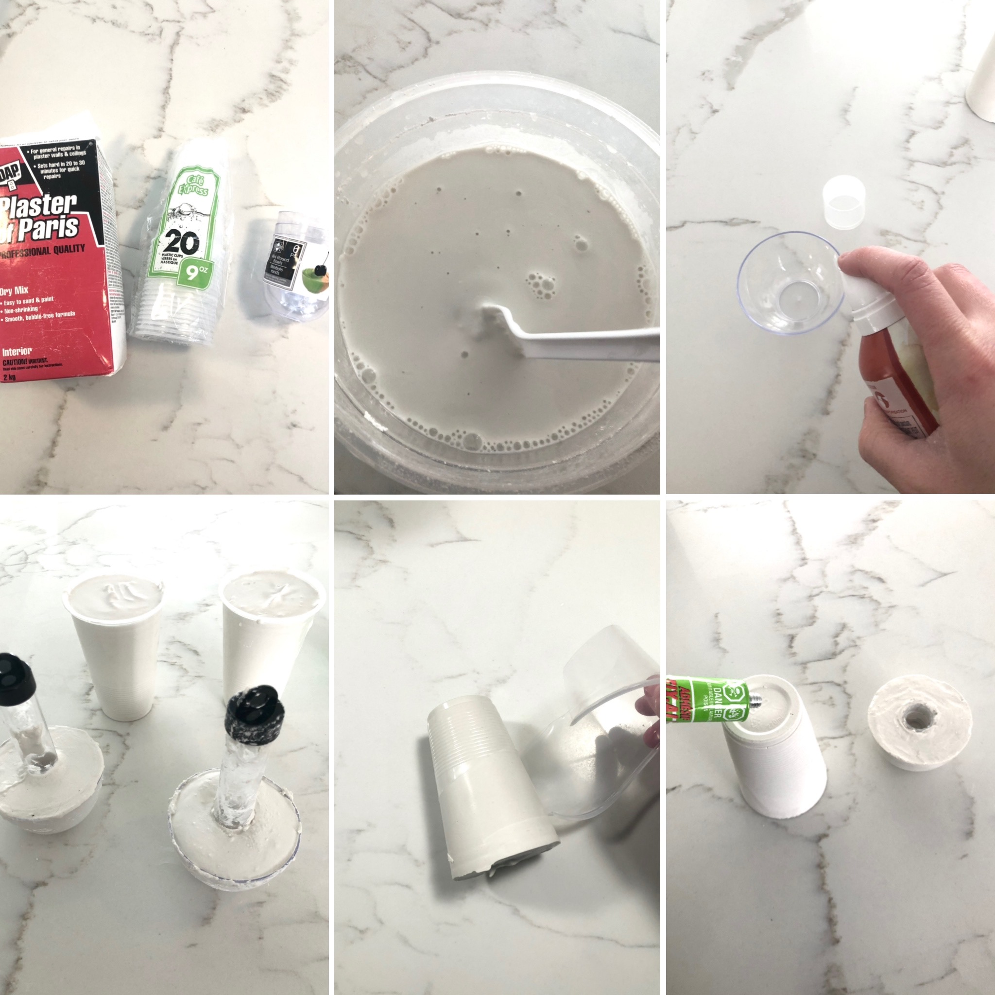 DIY Mid Century Plaster Candlestick Holders