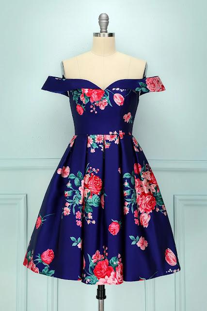 Royal Blue Floral Hoco Dress