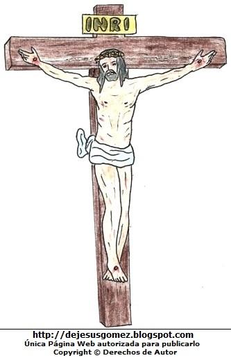Dibujo de Jesús en la Cruz pintado a colores. Dibujo de Jesús hecho por Jesus Gómez