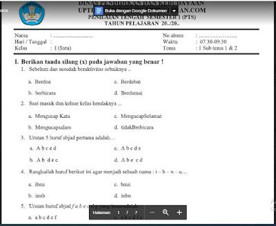UTS/PTS Tematik Tema 1 (Subtema 1 & 2) Kelas 1 Sem. Ganjil SD/MI