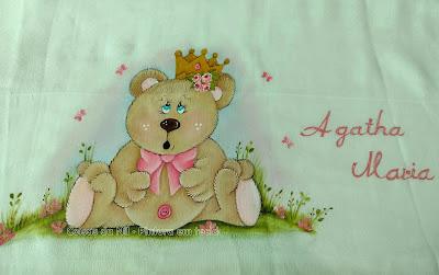 fralda de ombro com pintura de ursinha princesa