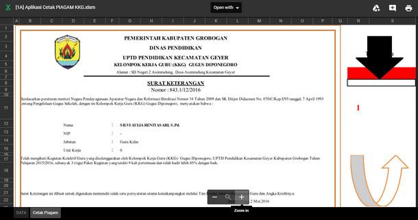 Aplikasi Cetak Piagam KKG (Kelompok Kerja Guru)
