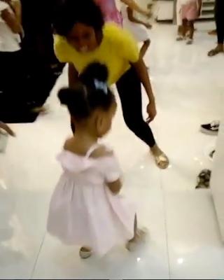 Paul Okoye's Daughter, Nadia Dances Legwork On His Twins Birthday Party