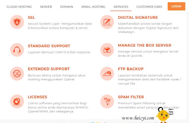 Layanan service web hosting Qwords.com