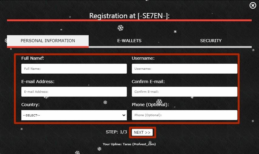 Регистрация в Se7en 2