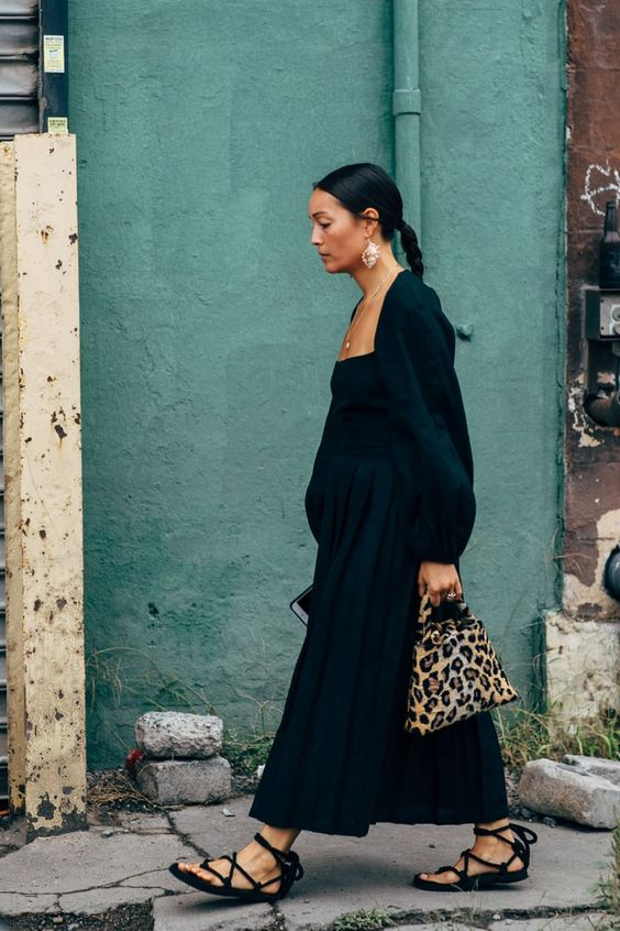 Rachael Wang Street Style — Black Puff-Sleeved Dress and Lace-up Ankle Wrap Sandals