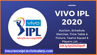 Time Table of Vivo IPL 2020 Free Pdf Download or Vivo IPL 2020 match lists