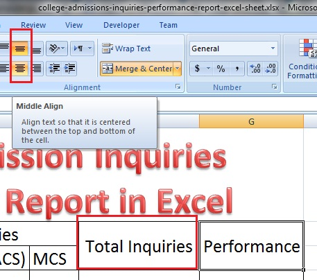 Apply middle align option in Excel worksheet
