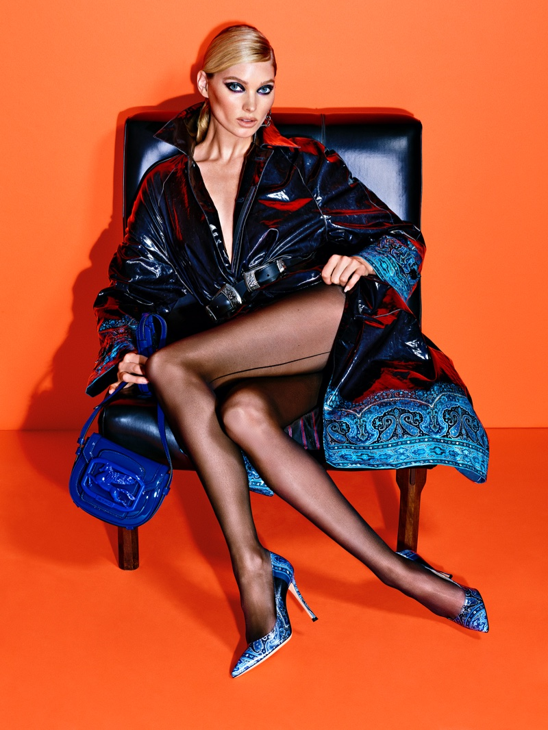 Elsa Hosk stars in Etro Pegasus Club fall-winter 2020 campaign.