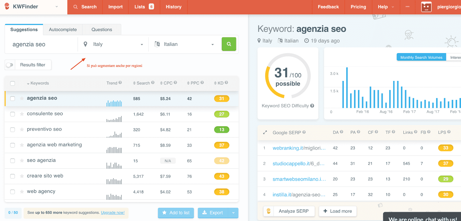 kwfinder strumento seo parole chiave web marketing tool