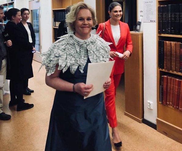 Crown Princess Victoria wore Acne Nova floral print shoes and Crown Princess Victoria carried Valentino Small chain shoulder bag
