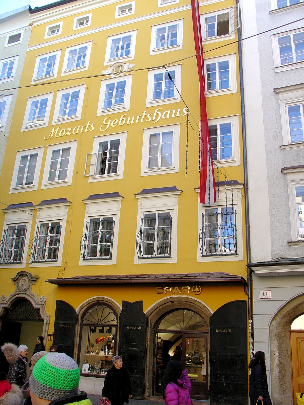 The Mozart family occupied the third floor of the house at Getreidegasse 9.