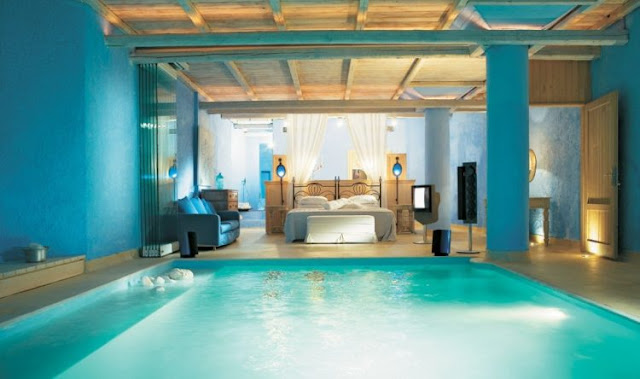 Blue Bedroom With A Pool