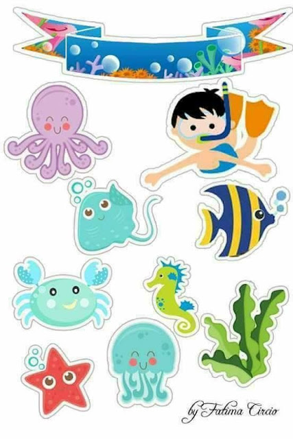 Babies Under the Sea: Free Printable Cake Toppers