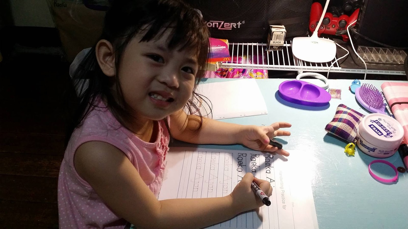 Raeka learns Writing her own name – Amazing Handwriting Worksheets