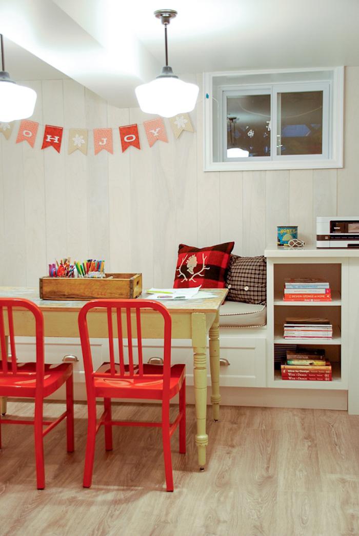 basement craft room, basement craft room ideas, basement lighting