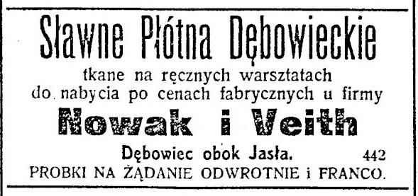 Dębowiec 1910 płótna reklama