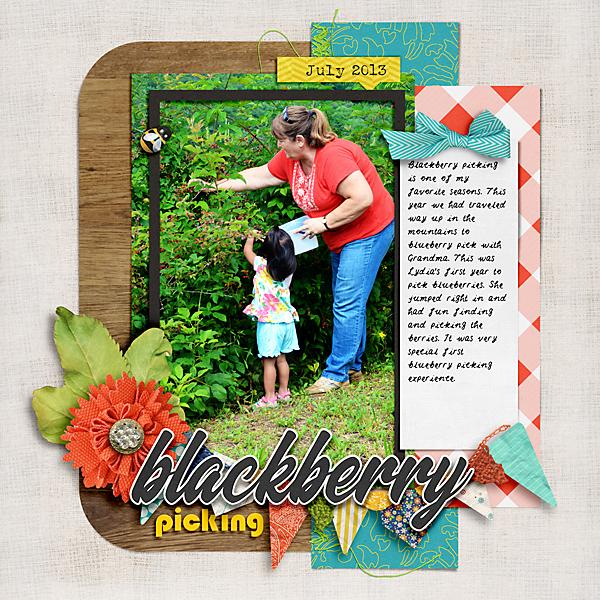 Blackberry Picking: Digital Scrapbook Page by Liz