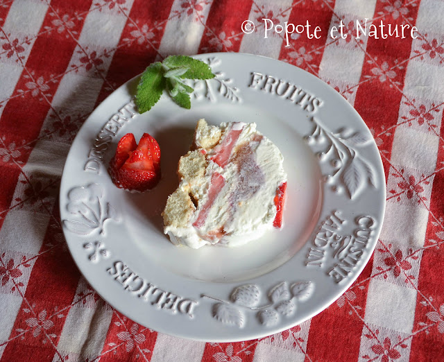 Bûche glacée à la rhubarbe et aux fraises © Popote et Nature