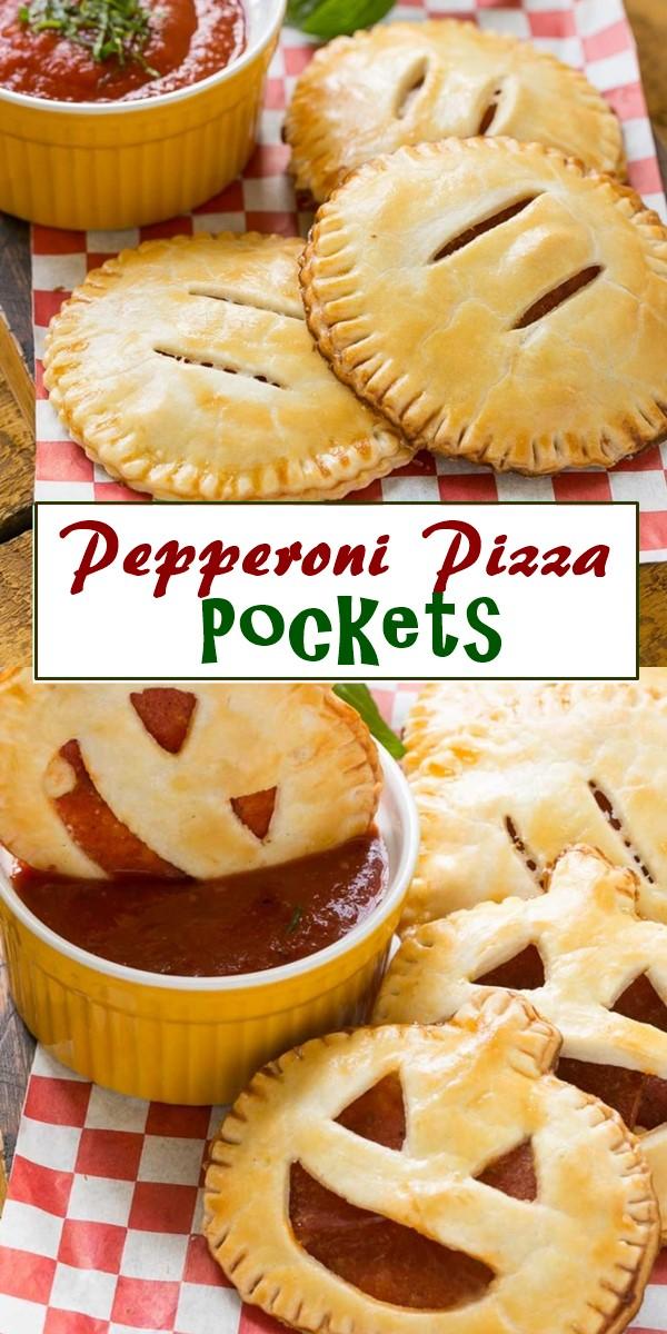 Pepperoni Pizza Pockets #halloweenrecipes